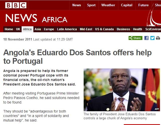"""דוס סנטוס עושה שימוש מושכל בתקשורת, אולם גם התקשורת עצמה לוקחת תפקיד ביצירת התודעה ש""""אנגולה שולטת על פורטוגל"""". הכותרת הזו, מתוך אתר ה-BBC בנובמבר 2011, מדברת בעד עצמה"""